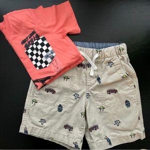 Baby Gap short 4T+Coral T-shirt 4T new💫
